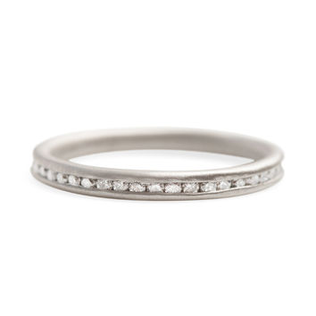 Channel Set White Diamond Band - Catbird