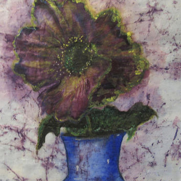 Purple Floral Abstract Original Watercolor Batik Painting on Rice Paper