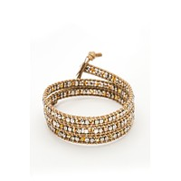 Wrap Bracelet - Tan Leather Cord | Silver Beads | Gold Crystal