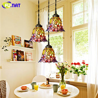 Tiffany Pendant Light Restaurant Led Stained Glass Suspension Lamp Creative Art 3 Lights Lamp Bar Hotel Project Lightings