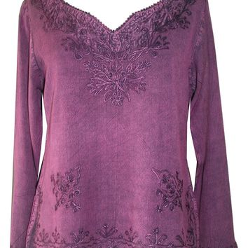 Diamond Neck Renaissance Embroidered Blouse
