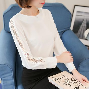 2017 New Women Chiffon Blouse Plus Size O-neck Chiffon Long Sleeves Women Clothes Loose Elegant Plus Size Shirt 821F 35