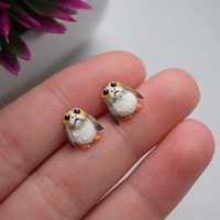 Polymer clay handcrafted earrings inspired by Porg
