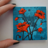 Tiny art, Miniature, Red Poppies Original Oil Painting, Dollhouse Art, American Girl Doll, 3""