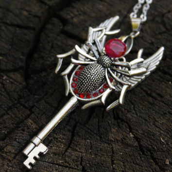 Fantasy Key Necklace Charms,Gothic jewelry,Zircon jewelry,Spider Charms,Skeleton key steampunk,Fantasy pendant,Winged pendant jewelry