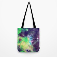 Green Galaxy Tote Bag by SagaciousDesign