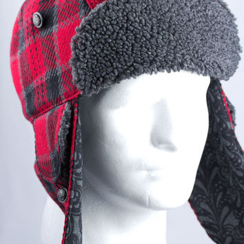 "Mens Trapper Hat with Ear Flaps in Red Buffalo Plaid Wool -- 23"" - 24"" inch"
