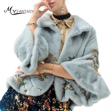 M.Y.FANSTY Winter Imported Swan Velvet  Mink Coats Flare Sleeve Bead Mandarin Collar Real Fur Short Causal Women Mink Fur Coats
