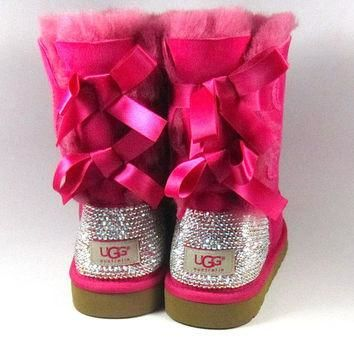 Hot Pink Ugg Bailey Bows with Swarovski Crystal Embellishment Adult Sizes - Winter/Hol