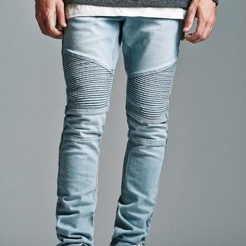 Bullhead Denim Co. Light Moto Stacked Skinny Jeans - Mens Jeans - Blue