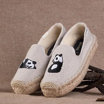 Soludos Panda Platform Smoking Embroidery Slipper Thick-bottomed Beige