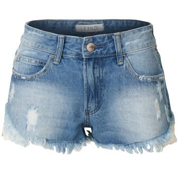 LE3NO Womens Low Rise Crochet Frayed Hem Distressed Denim Shorts