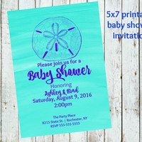 Sand dollar Baby Shower Invitations, beach shower,  blue baby shower, Printable digital, Baby Shower Invitations, 5x7 baby shower invitation