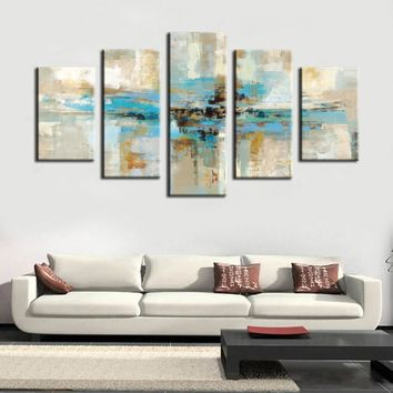 5pcs Canvas Prints Wall Art - Turquoise Modern Abstract Canvas Wall Art Prints On Canvas For Living Room Home Decor No Frame