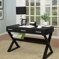Home Office Desk with Triangular Legs in Black Finish