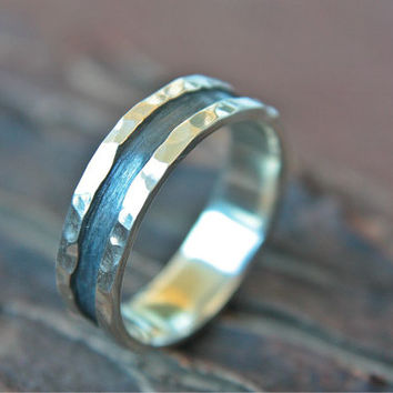 Unique Rustic Men's Ring Dark Band Sterling Silver Hammered Oxidized Wedding Ring 6mm Handcrafted Silversmith Metalsmithed
