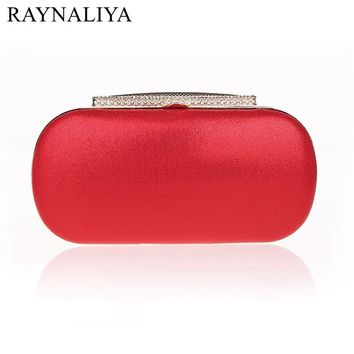 Simple Fashion Satin Diamonds Solid Party Evening Bag Clutch Bags Clutches Lady Wedding Purse Wome Handbags Smysfx-e0013