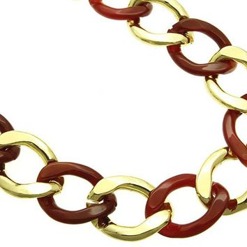 Red Lucite And Metal Chunky Link Necklace