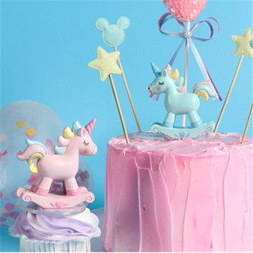 Unicorn Party 1pc Pink Unicorn Cake Decoration Birthday Party Decorations Kids Baby Shower Unicorno Cake Topper Unicorn Party-B
