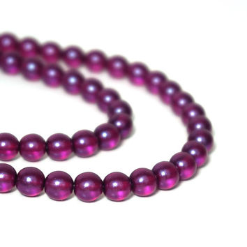 Purple Pearilized Czech Glass Beads, 6mm round, Full bead strand, 916G
