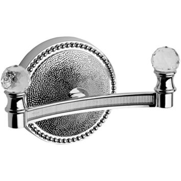 Lux Elite Swarovski Double Towel Robe Hook Hanger for Bath Towel Holder, Brass