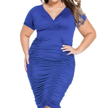 Blue Pleated Curvaceous Midi Dress