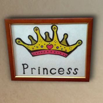 Princess Crown Drawing Colorful Teenage Gift Baby Girl Bedroom Decor Original Drawing Yellow Artwork Fashion Tiara Pink glam cute simple