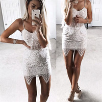 Spaghetti Straps Lace Crop Top Short Skirt Two Pieces Set