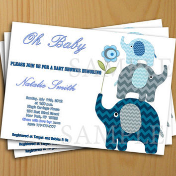 Elephant Printable Baby Shower Invitation  - thank you card included free Baby Boy Shower Invitation