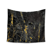 "KESS Original ""Gold Fleck Black Marble"" Digital Abstract Wall Tapestry"