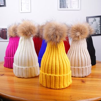 2017 Fashion New Design Candy Color Faux Fur Ball Female Girls Winter Knitted Hat Warm Knitted Cap for Women Girls Beanies