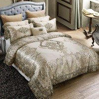 Luxury mulberry silk royal bedding set king size bed linen duvet cover europe style bohemia home textile bedclothes bedsheet set