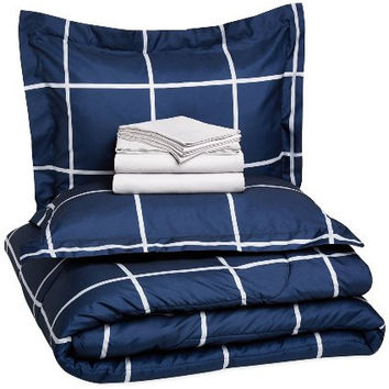 7-Piece Bed-In-A-Bag - Full/Queen, Navy Simple Plaid