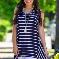 The Line Is Clear Tank Top-Navy – Simply Dixie Boutique
