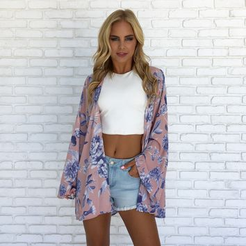 Tranquil Floral Bell Sleeve Kimono