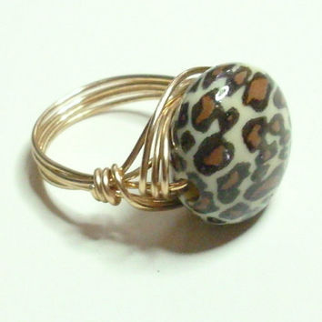 Brown and White Leopard Wire Wrapped Ring