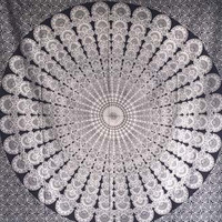 Tapestry Peacock Mandala Black and White