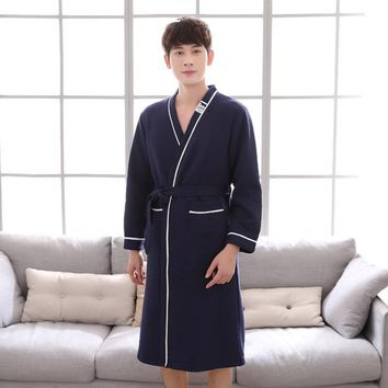 Winter Autumn 100% Cotton Bathrobes for Men Long Sleeved Robe Comfortable Sleepwear Male Kimono Bath Robes Casual Home Clothing
