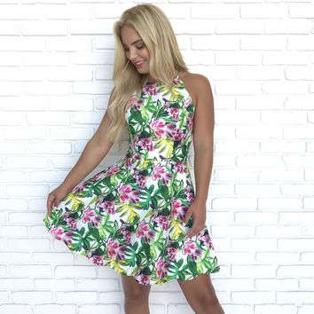 Forever Hawaiian Nights Floral Print Dress