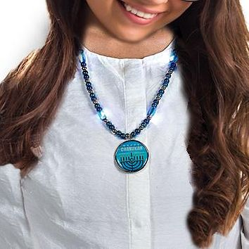 CHANUKAH LIGHT UP NECKLACE, BLUE/SILVER BEADS, 16', CARDED