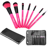 7pcs Professional Soft Cosmetic Makeup Brushes Set + Leather Bag High quality (Color: Pink) = 1845637124