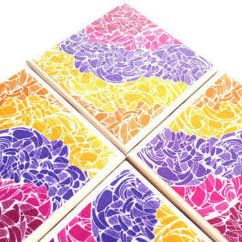 Ceramic Coasters Abstract Izeondesign Color Tile Drink