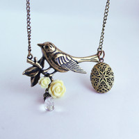 diffuser necklace, diffuser jewelry, essential oil locket, diffuser locket, ladies diffuser necklace, bird diffuser necklace, sparrow, brass
