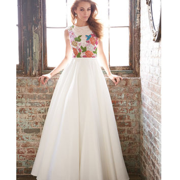 Ivory Lace Floral Satin Gown Prom 2015