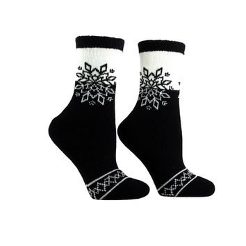 Women's Double Layer Slipper Socks Snowflake Shea Butter Infused Fuzzy Black Kissables By MinxNY