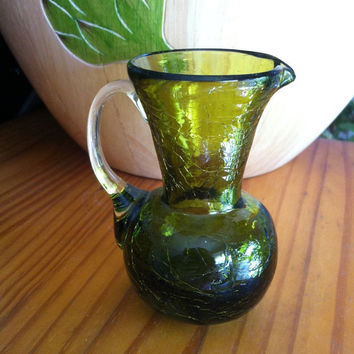 Olive Green Glass Vase Vintage Green Hand Blown Crackle Glass Small Pitcher Vase With Clear Handle Dark Green Flower Container Country Decor