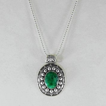 Hand Crafted Raw Emerald Sterling Silver Pendant Necklace