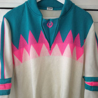 Hipster Ski quirky pink turquoise white Sweater size 48 / L