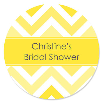 Chevron Yellow - Personalized Bridal Shower Sticker Labels - 24 ct