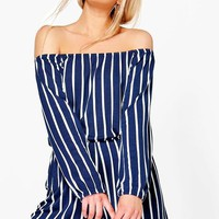Helena Striped Off The Shoulder Playsuit | Boohoo